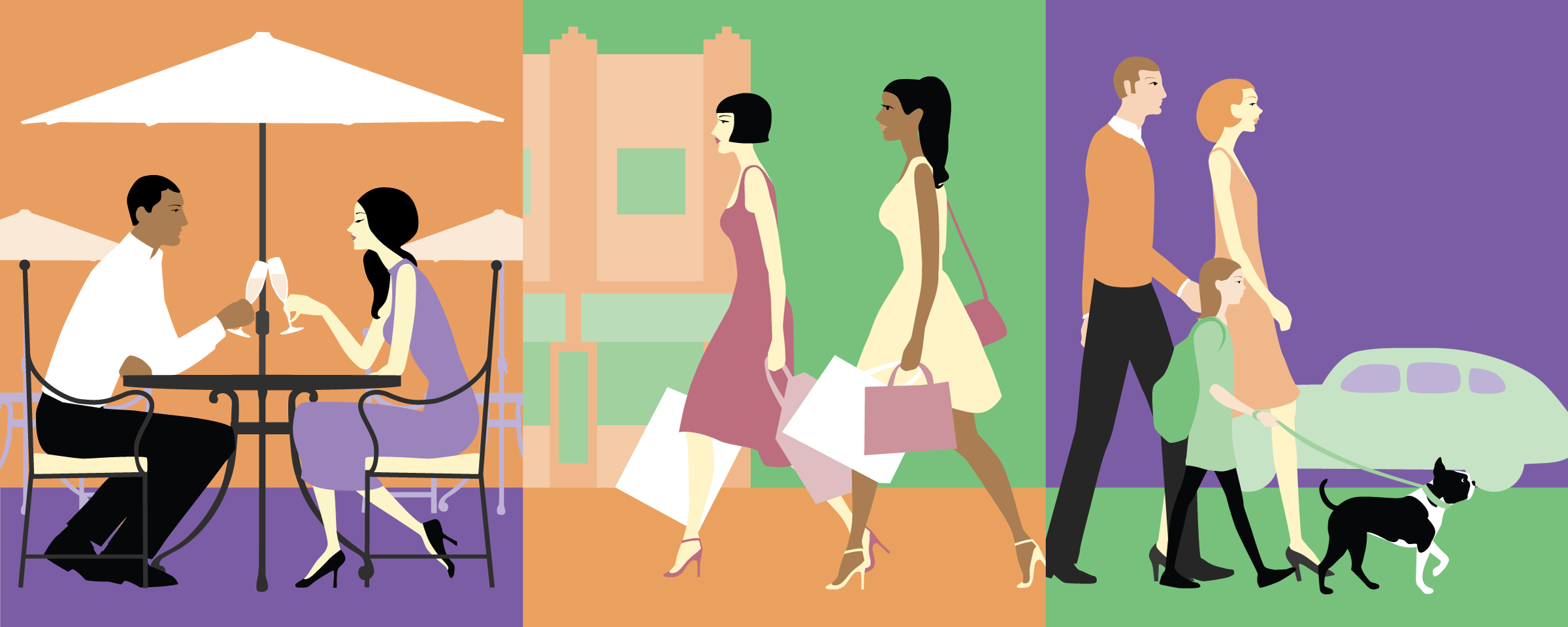 Art Deco inspired illustration eating, shopping, and walking