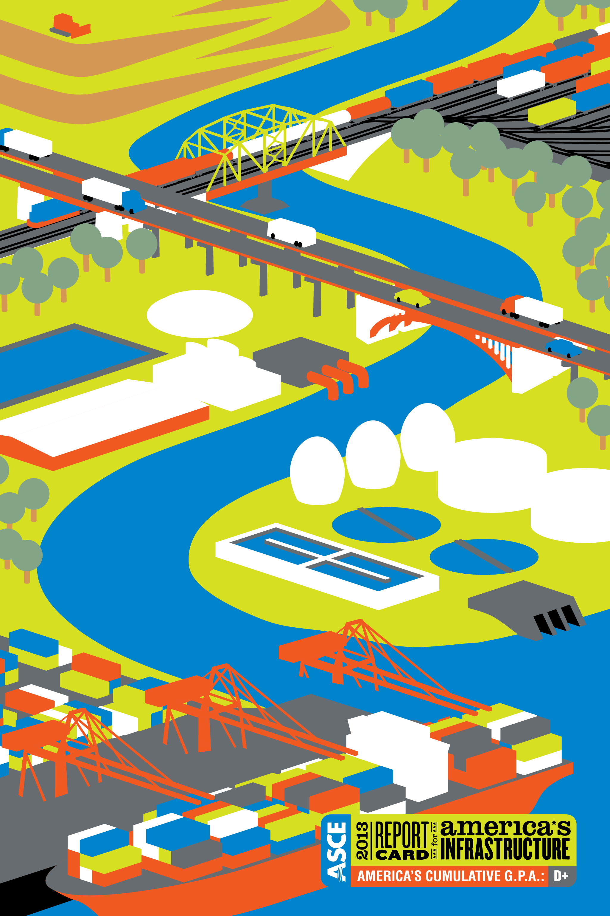 Illustration representing the six areas of American infrastructure that improved between 2009 and 2013. Text: ASCE 2013 Report Card for America's Infrastructure. America's Cumulative GPA: D+