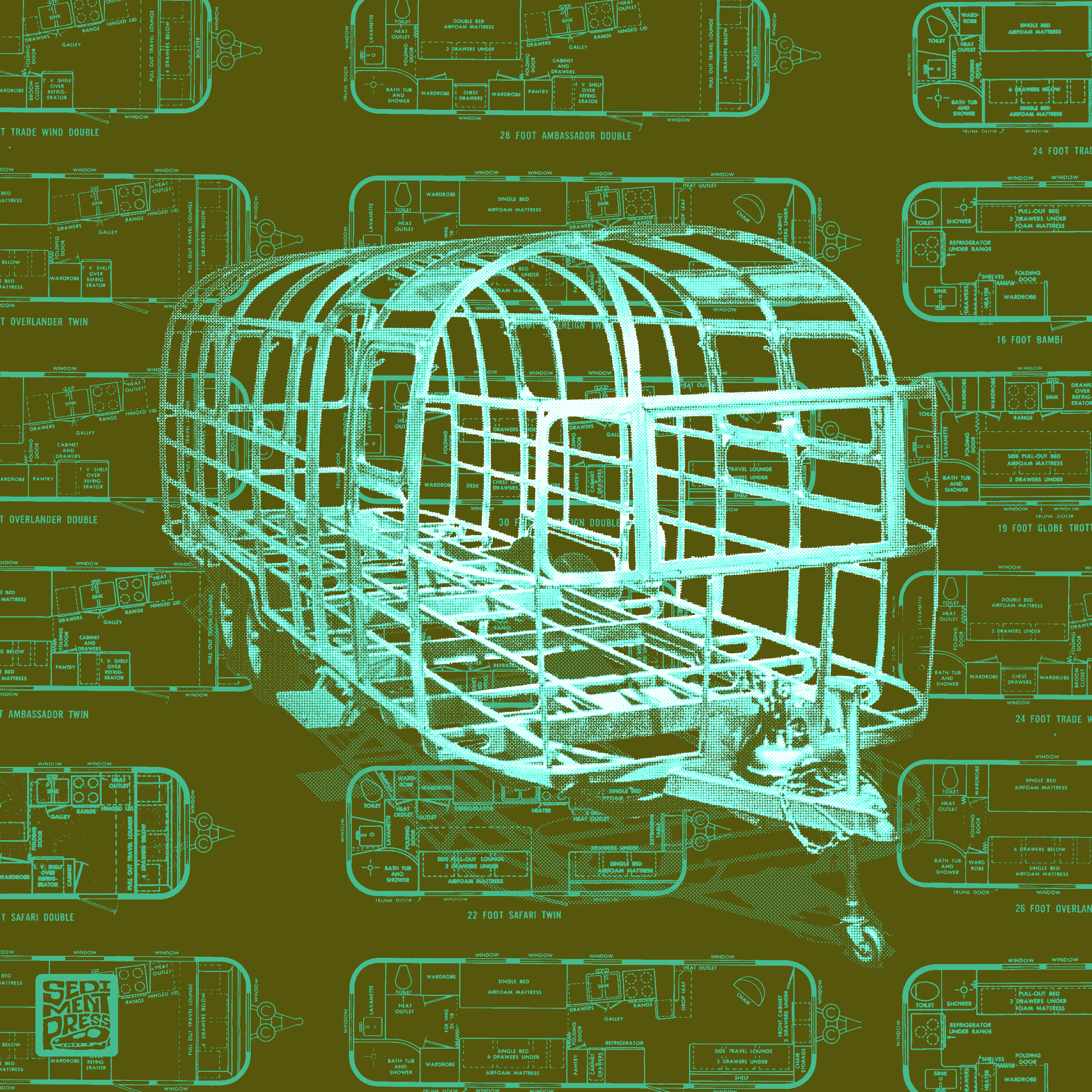 Axonometric - 2 color screen print of an Airstream frame superimposed over a pattern of Airstream floorplans