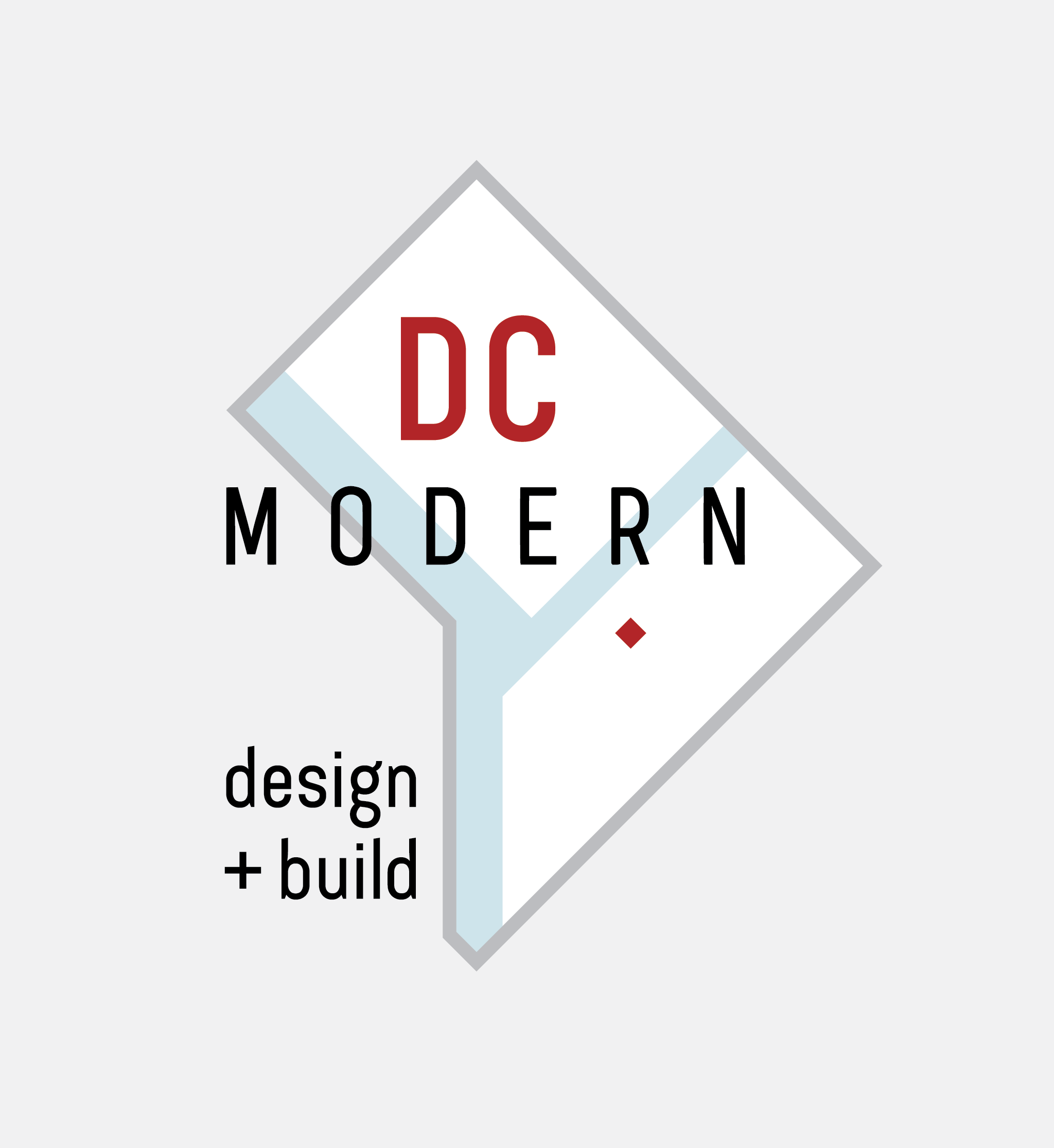 Logo for DC Modern architecture and construction company. Features a geometric abstraction of Washington, DC
