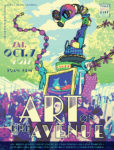 Poster for Art on the Avenue festival 2017. A giant monster made of arts and crafts looms over the crowded street.