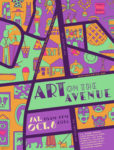 Poster for Art on the Avenue festival 2018. A map of the Del Ray Neighborhood where arts and crafts are superimposed over sections of the neighborhood.